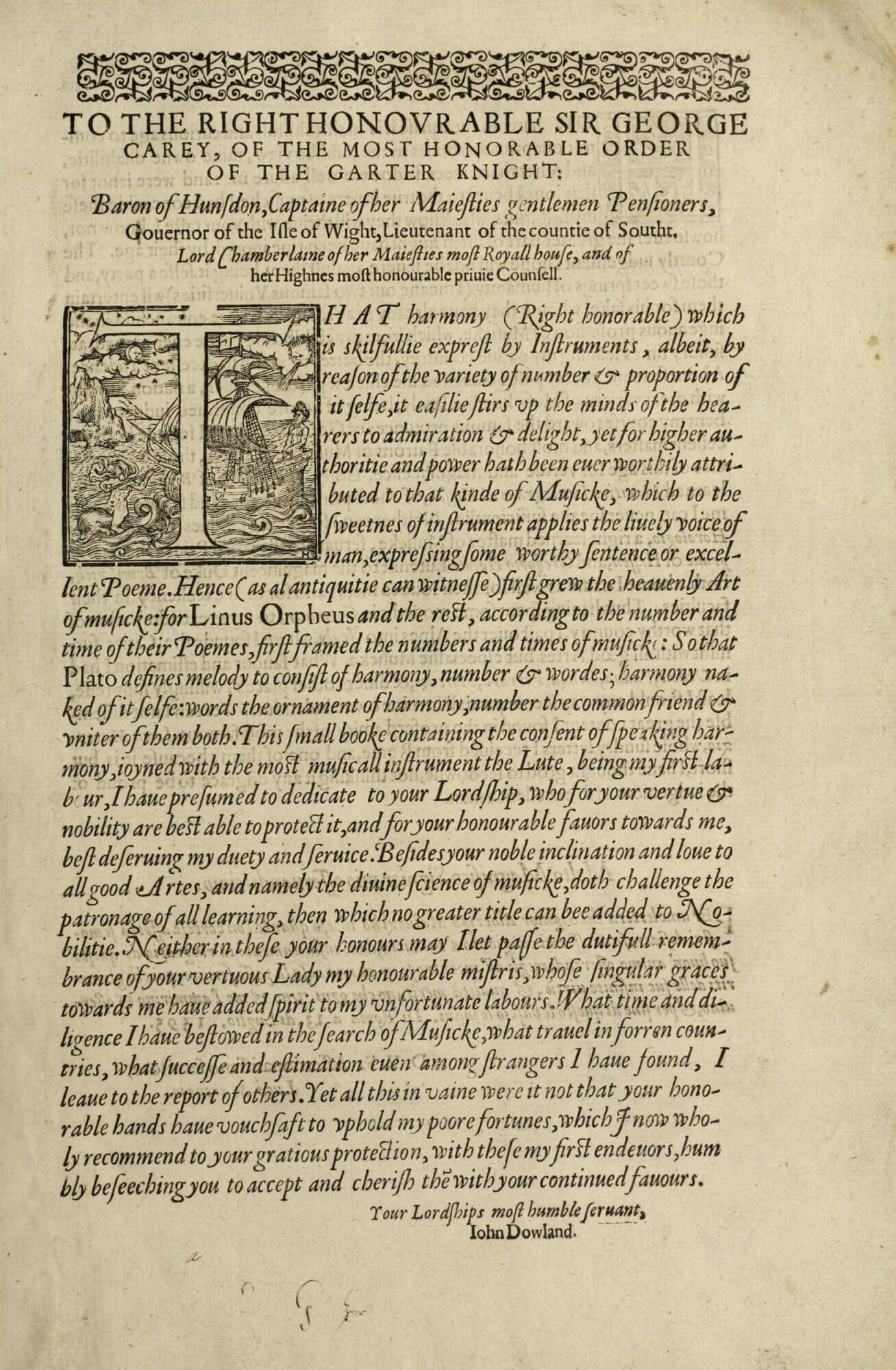 """The dedication begins with a large, historiated initial """"T"""", a woodcut depicting a sailboat."""