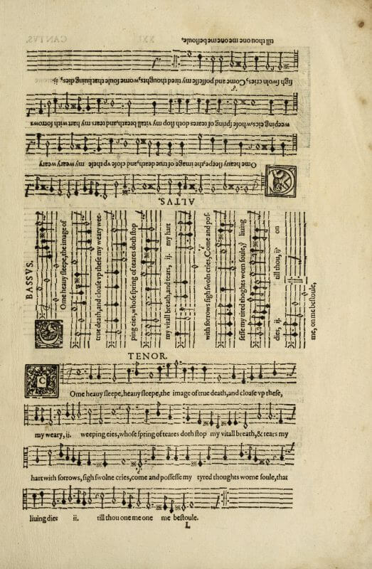 This page of music was printed so that four musicians could stand around a table sharing the book. The music itself was printed from tiny pieces of metal type, each with the 5 bars of the staff and a note; lined up in a series, the pieces of type formed a series of musical notes.
