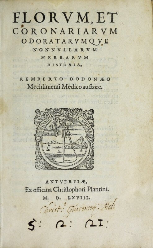 "Christopher Plantin's printer's device illustrates his motto, ""Constantia et Labore"" (""Perseverance and Work"") with a compass, the fixed point of which represents the constancy of perseverance and the outer point representing labor."