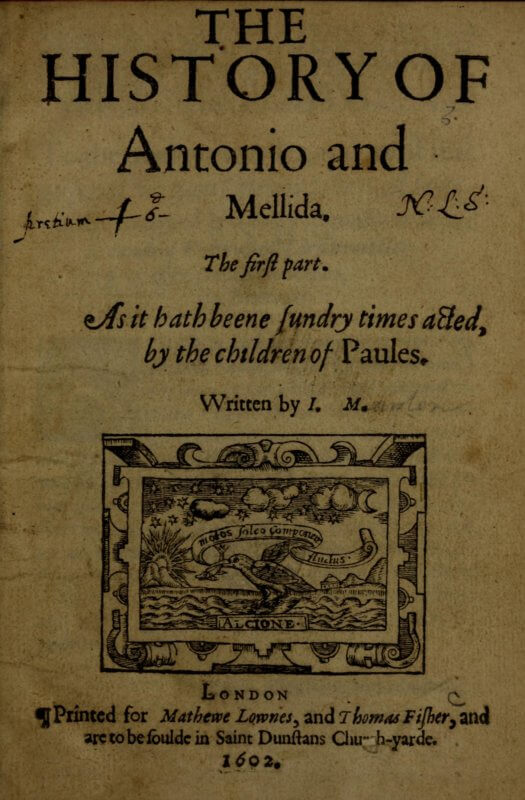 Thomas Fisher's printer's device, shown on this playbook title page, puns on his name by featuring a kingfisher bird.