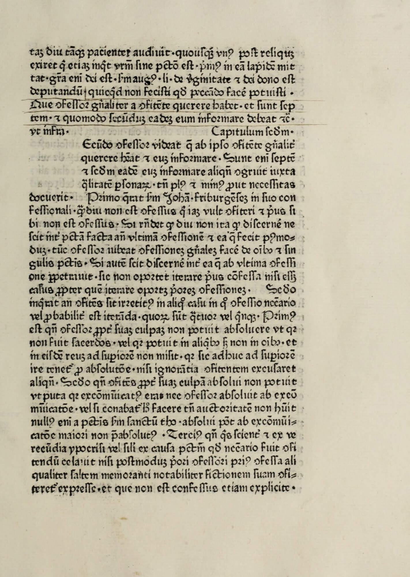 Although this book has clearly been read and annotated by a reader, its owner never had the initial letters or rubrication added. You can see on the left an empty square that would hold a hand-drawn initial letter as well as a smaller space further down on the right that would have been rubricated with a capitulum to indicate the start of a new chapter or section.
