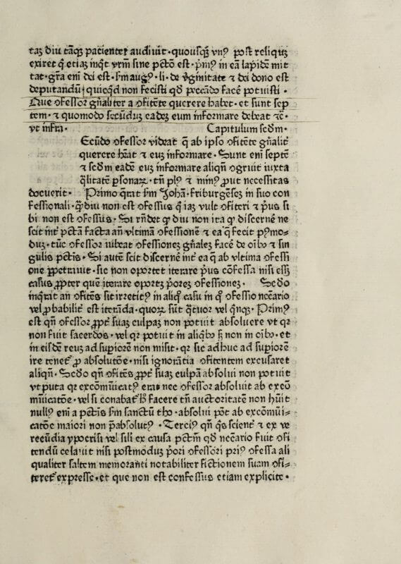 Although this book has clearly been read and annotated by a reader, its owner never had the initial letters or rubrication added. You can see on the left an empty square that would hold a hand-drawn initial letter as well as a smaller space further down on the right that would have been rubricated with a ca­pit­u­lum to indicate the start of a new chapter or section.