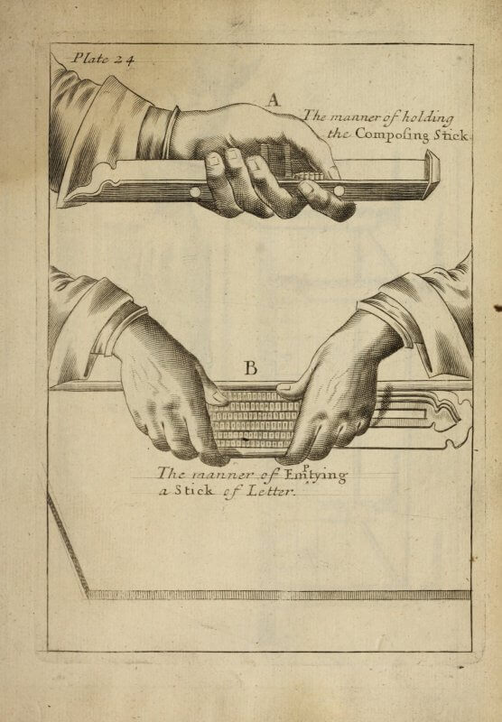 "This entire page is made by engraving lines into a copper plate. When the engraver noticed that a letter had accidentally been dropped from ""Emptying"" in the caption, he used a caret to insert the ""p"" in its proper place."