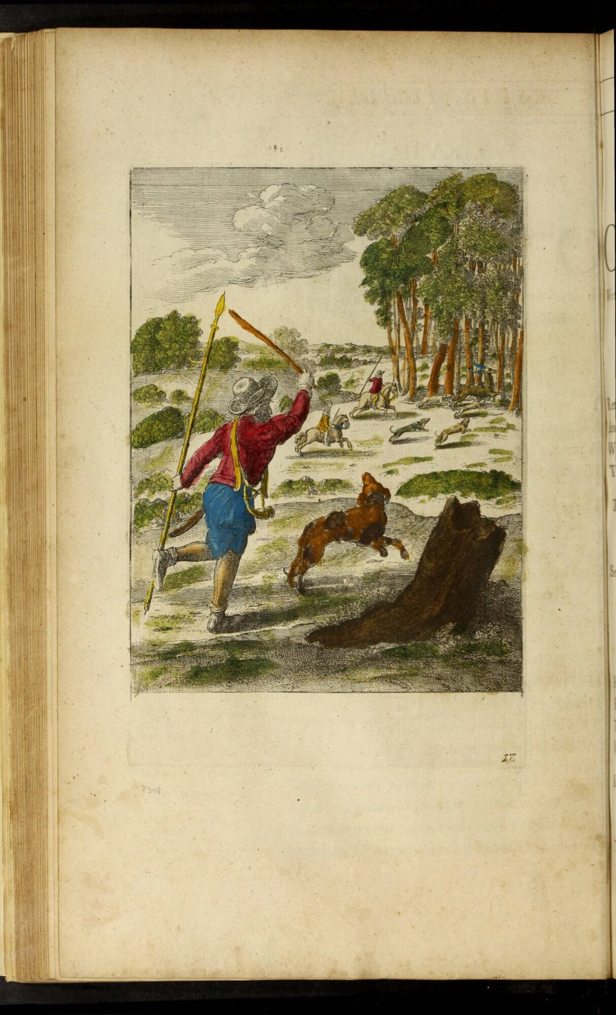 Some previous owner has colored in the illustration corresponding to the fable of the Hound and his Master. Perhaps this story was a favorite––no other print in the book was treated to full color.