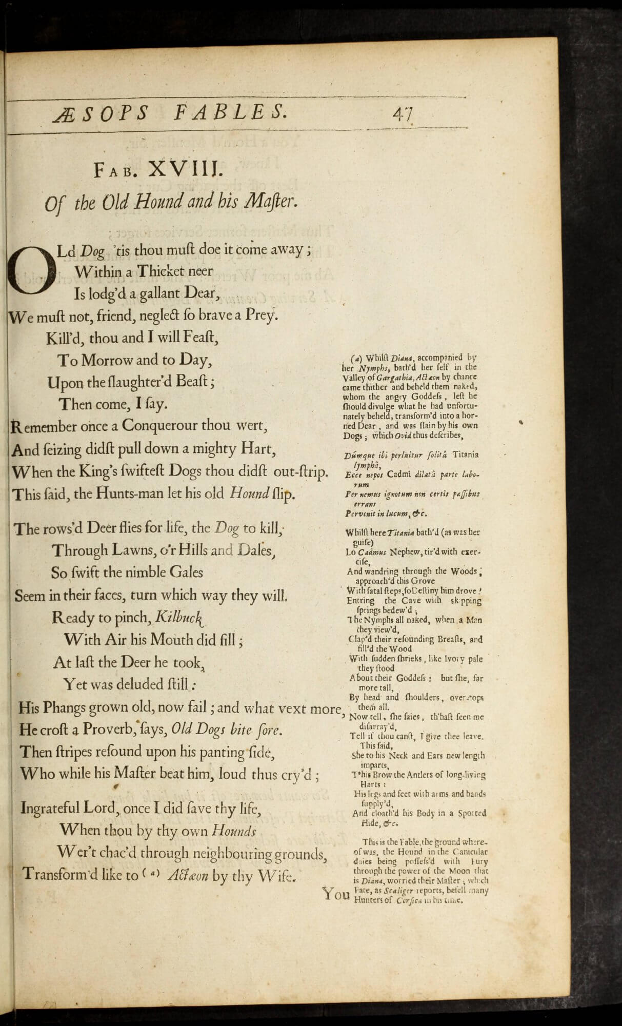 Ogilby's version of Aesop's Fables uses the margins for extensive annotations.