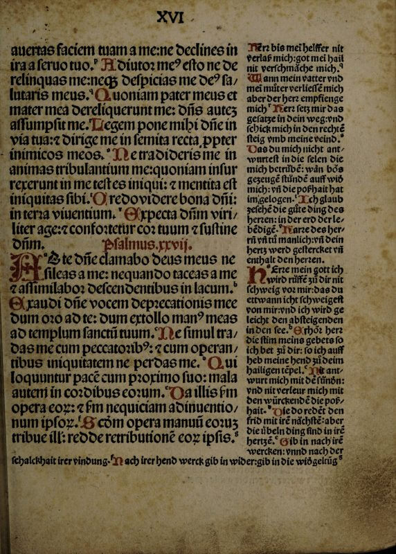The text of this Latin book of psalms is surrounded by German commentary, printed in a smaller type on the right column and wrapping under the main text at the bottom of the page. Although it's hard to see on this copy (which shows signs of wear and foxing, or discoloration), both categories of text have been carefully printed in red ink as well as black.