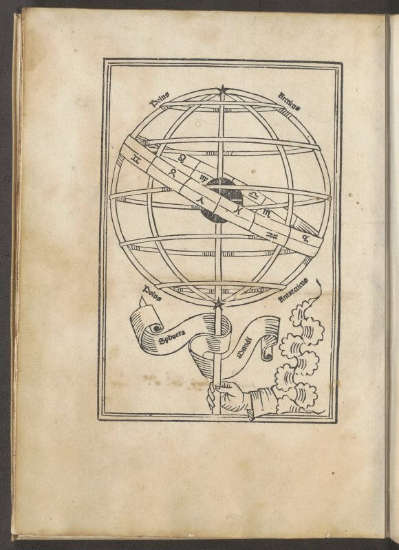 This woodcut---one of the standard ones accompanying Sacrobosco's astronomical textbook---is in this edition facing the beginning of the text and the incipit.