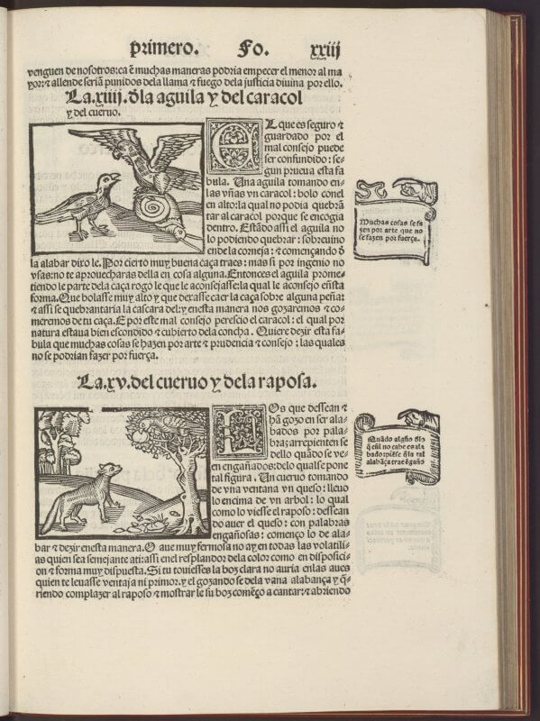 A unique feature of this text is how the morals are isolated in the margins next to their respective fables. The use of the manicules and banners serves to emphasize the lofty values they impart.