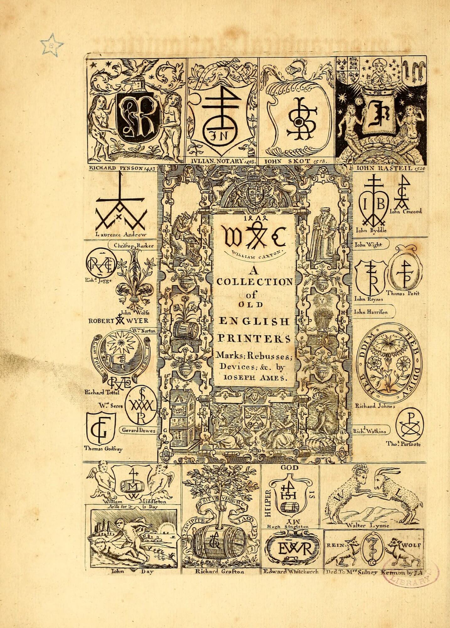 Copies of early English printer's devices make up the frontispiece to Ames's history of English printing.