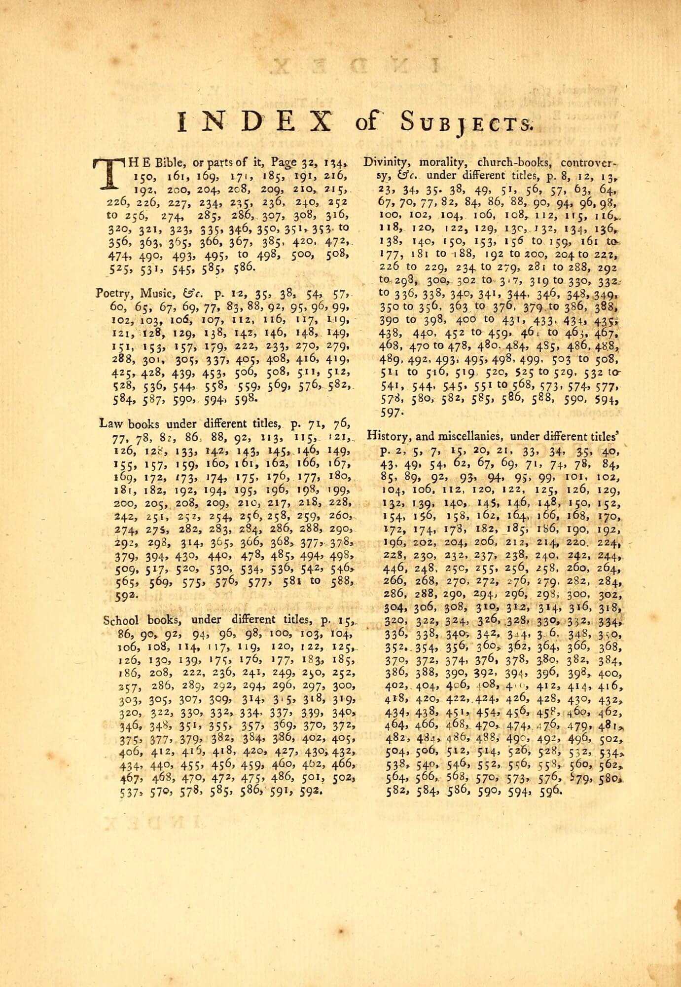 Ames's history of English printing includes an alphabetical index of printers and other persons, followed by this single-page index of subjects. To our eye, this is curiously arranged---why is it not alphabetical? Perhaps because this organization allows the blocks of numbers for each subject heading to remain intact instead of being split over columns.